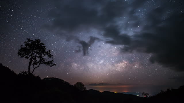 Timelapse of Lonely tree with milky way on the sunrise sky and cloudy video