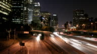 timelapse of Los Angeles freeway with Skyscrapers video