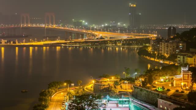Time-lapse of Macau Pte. de San Van Bridge Macao China video