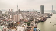 Time-lapse of Macau Tower and Skyline aerial view Macao China video