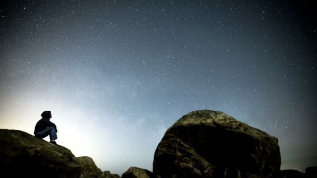 Timelapse of man looking at night sky in CT video
