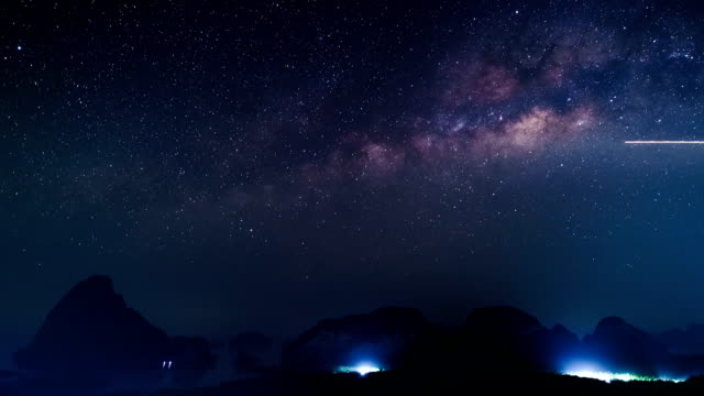 Timelapse of milky way and sunrise, Samet nang she, Phangnga, Thailand video