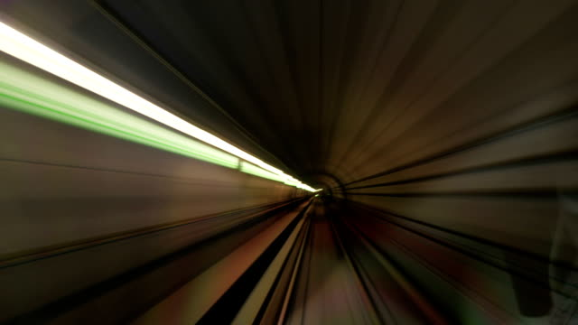 Timelapse of moving through subway tunnels video