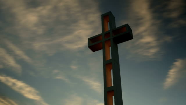 time-lapse of Mt Soledad war memorial cross at Sunset. video
