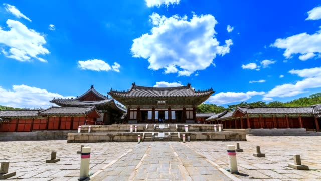 Timelapse of Myeongjeongjeon, main hall of Changgyeonggung palace. The palace was built by King Sejong and was one of the five grand palace of Joseon dynasty. video