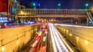 Timelapse of night street traffic video
