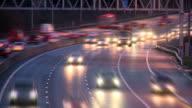Timelapse of oncoming motorway headlights video