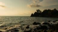 timelapse of orange sunset over the sea video