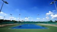 Time-lapse of outdoor empty tennis court with blue sky and cloud video