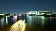 Timelapse of Passenger ship in Chaophraya River Bangkok at night video