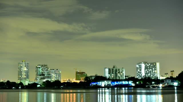 Timelapse of Passenger ship in Chaophraya River Bangkok at night video