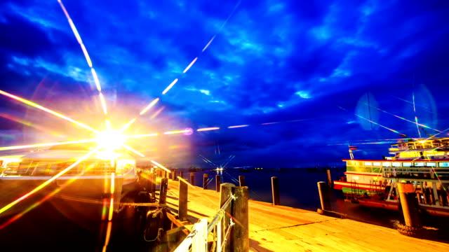 Timelapse of Passenger ship inturtle Island,Thailand at night video