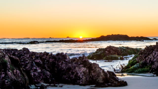 Time-lapse of Pebble Beach at sunset video