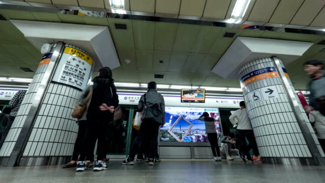 Timelapse of people at subway in Seoul, South Korea video