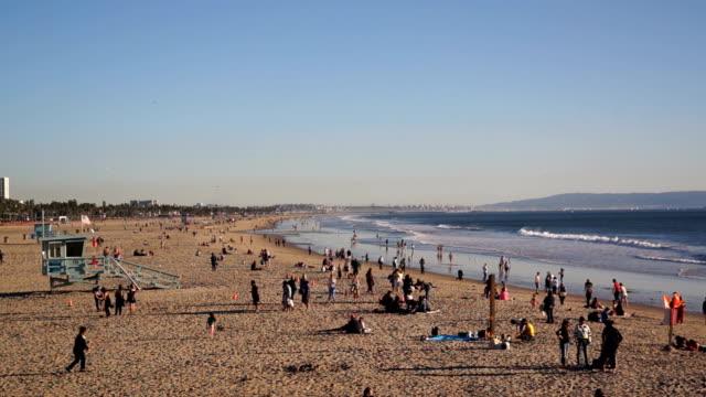 Time-Lapse of People on Santa Monica Beach video