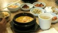 Timelapse of person eating Korean Soon Tofu video