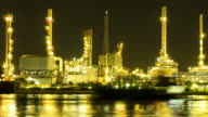 Time-lapse of petrochemical plant at night video