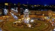 Time-lapse of Placa De Espanya( Square of Spain). Barcelona, Spain video