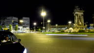 Timelapse of Plaza de Espana (Barcelona) at night video
