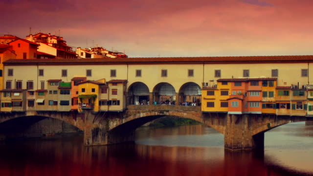 Time-lapse of Ponte Vecchio bridge in Florence, Italy. HD video