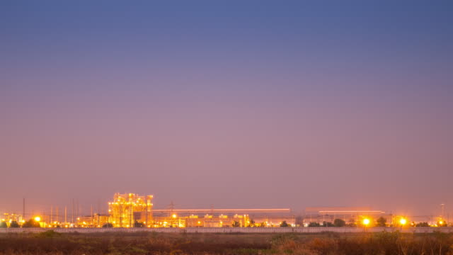 Time-lapse of power plant and electronic plant on twilight time , 4k(UHD) video
