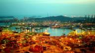 Timelapse of Shipyard in sunset. video