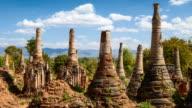 Timelapse of Shwe Indein pagoda, Shan state, Myanmar video