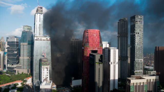 Time-lapse of Smoke at Large Building in Fire alarm video