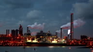 Time-lapse of steelworks at dusk video