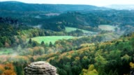 timelapse of sunrise over Mountains. morning mist in the valley Bastei in Saxon Switzerland video