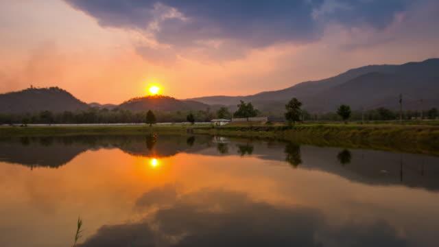 Time-lapse of sunset at reflection lake , 4k(UHD) video