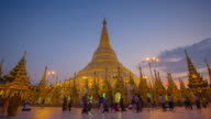 4K Timelapse of sunset at the Shwedagon pagoda. video
