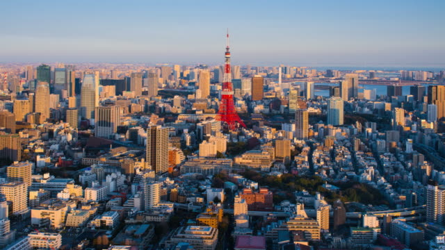 4K Timelapse of sunset over Tokyo tower/ Tokyo, Japan video