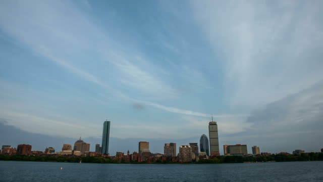 Timelapse of the Boston City Skyline Along the Charles River. video