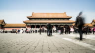 Timelapse of the crowded visitors wandering in the Forbidden City, Beijing, China video
