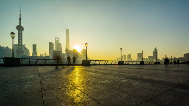 Timelapse of the people do exercise at the Bund in the early morning, Shanghai, China video