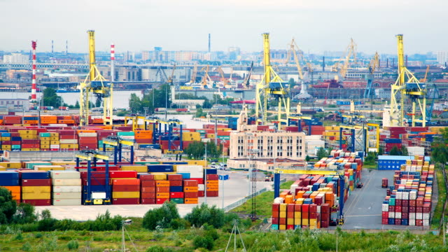 Timelapse of the sea port in St. Petersburg video