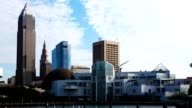 Timelapse of the skyline of Cleveland on a sunny day video