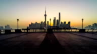 Timelapse of the visitors admire the view at the Bund in Shanghai, China video