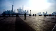 Timelapse of the visitors at the Bund in Shanghai, China video