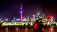 Timelapse of the visitors at the Chenyi Square near the Bund in Shanghai, China video