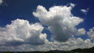 Time-lapse of thunderhead clouds in blue sky video