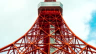 Time-lapse of Tokyo tower in blue sky video