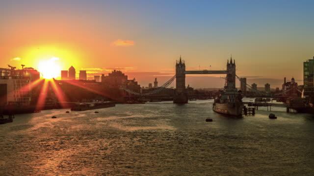 4K timelapse of Tower Bridge,Sunrise in London video