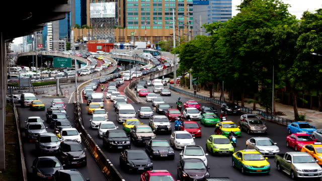 Timelapse of traffic jam on the road at Lat Phrao video