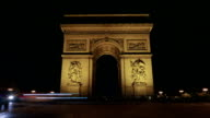 Timelapse of traffic near Triumphal Arch at night video