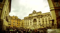 Timelapse of Trevi Fountain in Rome under the Rain video