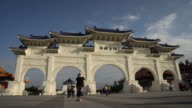 Timelapse of visitors at Freedom Square and Chiang Kai-shek Memorial Hall, Taipei, China video