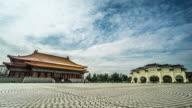 Timelapse of visitors at National Concert Hall and Chiang Kai-shek Memorial Hall, Taiwan, China video