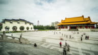 Timelapse of visitors at National Theater Hall and Chiang Kai-shek Memorial Hall, Taiwan, China video